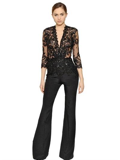 Zuhair Murad  Embellished Lace & Crepe Jumpsuit, Black