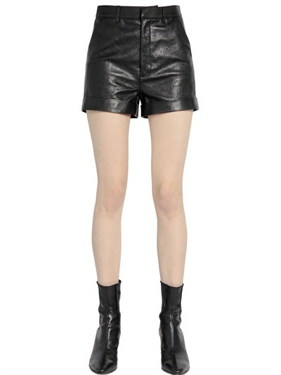 HIGH WAISTED NAPPA LEATHER SHORTS