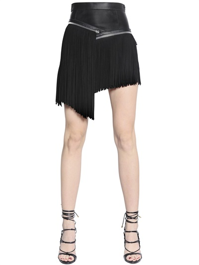 Fringed Nappa Leather & Suede Skirt, Black