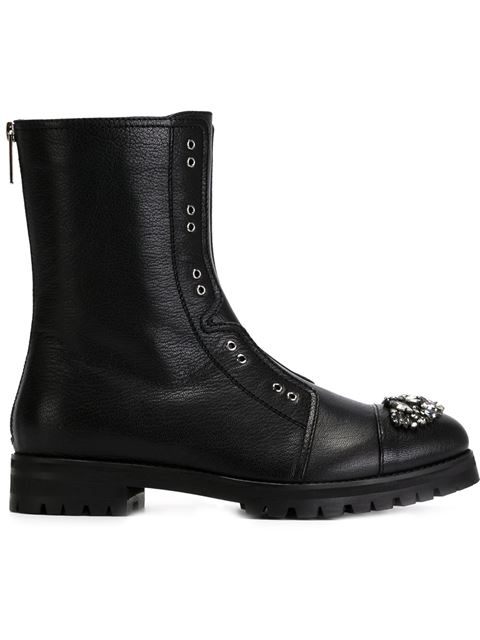 HATCHER Black Grainy Leather Combat Boots with Crystal Detail