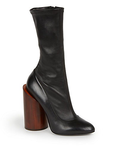 Privé wooden-heeled leather ankle boots