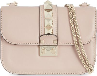 SMALL LOCK ROCKSTUD LEATHER SHOULDER BAG