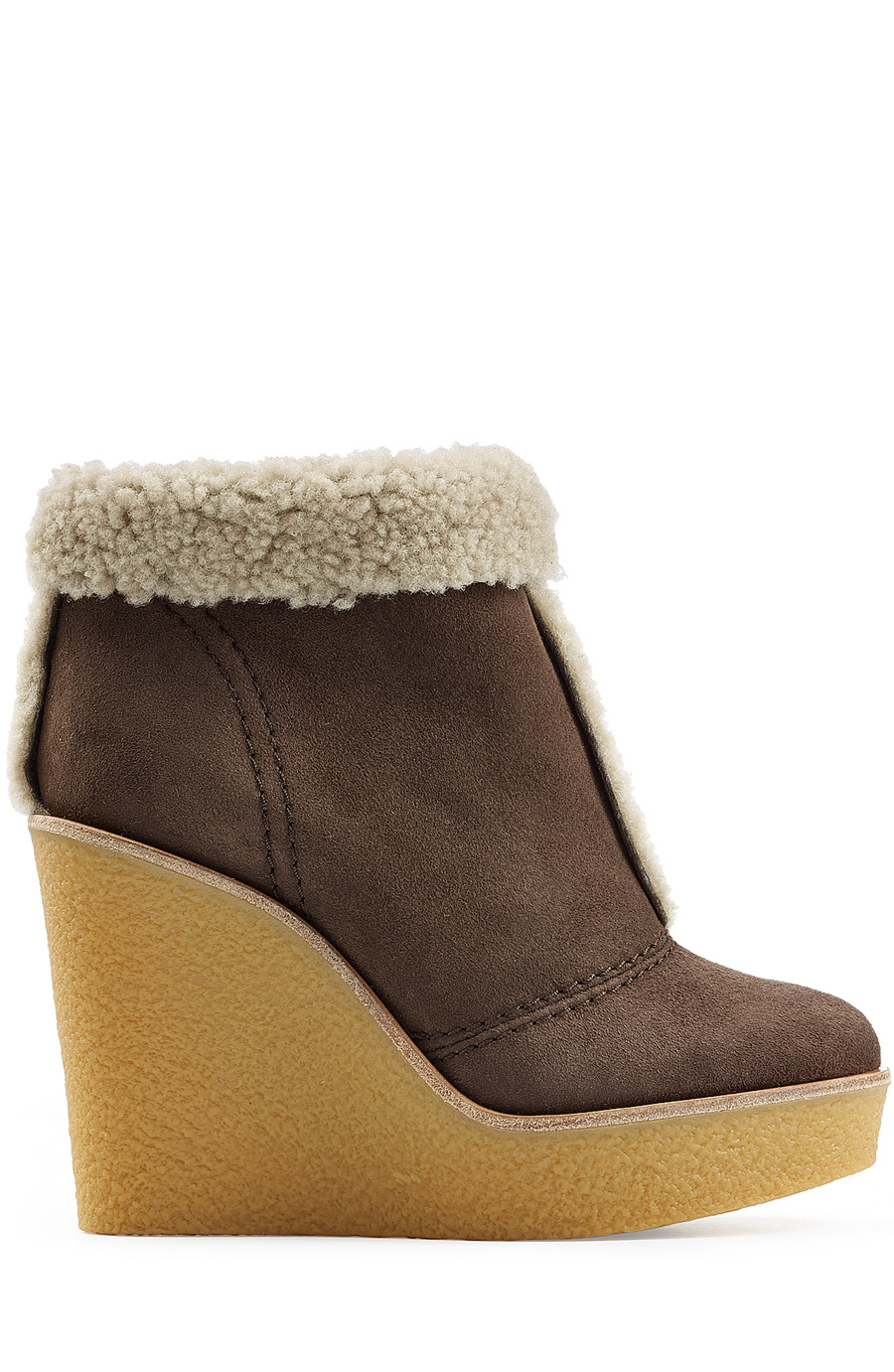 SHEARLING-LINED SUEDE WEDGE ANKLE BOOTS