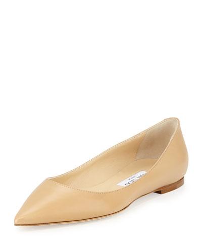 Nude Leather 'Alina' Ballerina Flats'