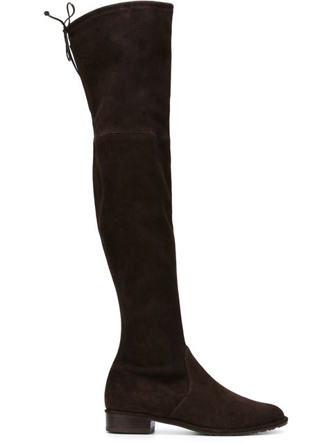 20MM THIGH SCRAPER STRETCH SUEDE BOOTS, BLACK