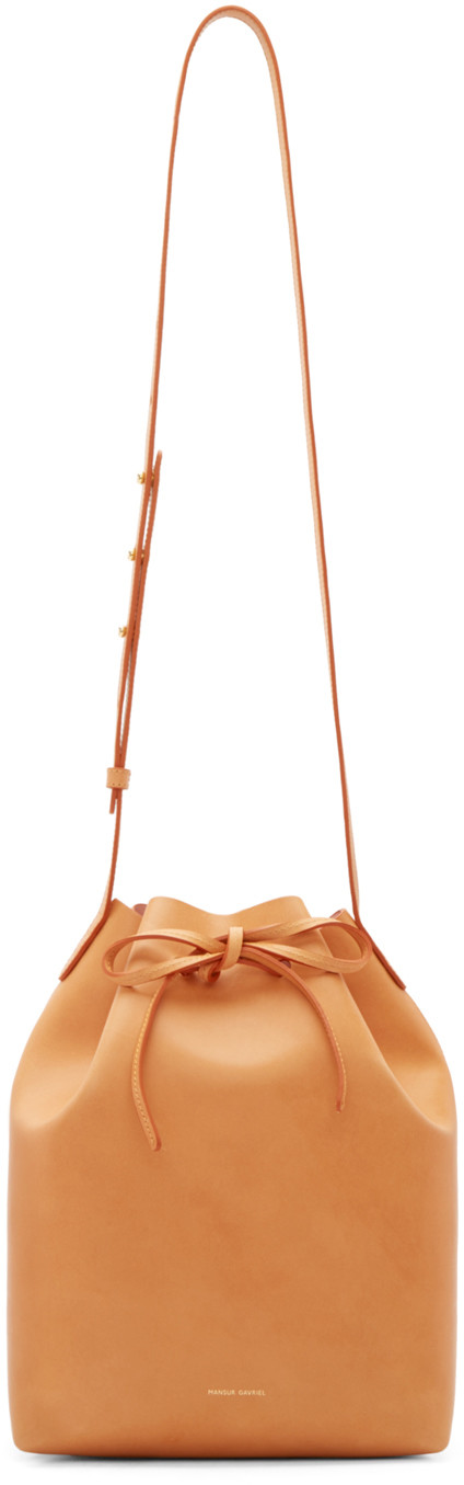 Vegetable Tanned Bucket Bag In Cammello With Rosa