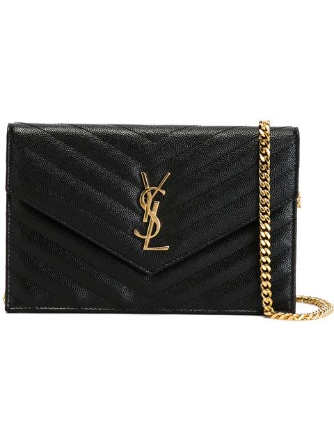 Black Quilted Monogram Envelope Chain Wallet Bag
