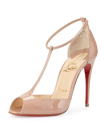 black and white louboutins - christian louboutin patent leather T-strap pumps Beige peep toes ...