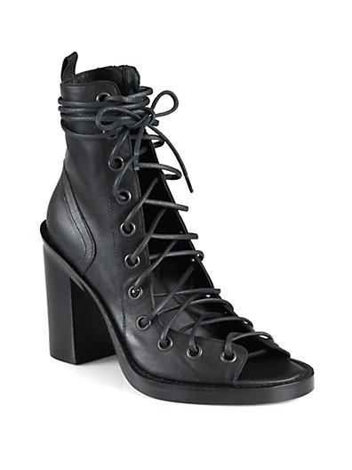Ann Demeulemeester Leather Open-Front Ankle Boots