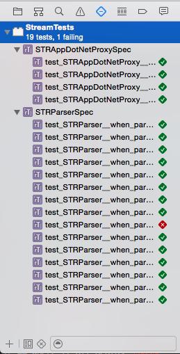 Xcode test navigator