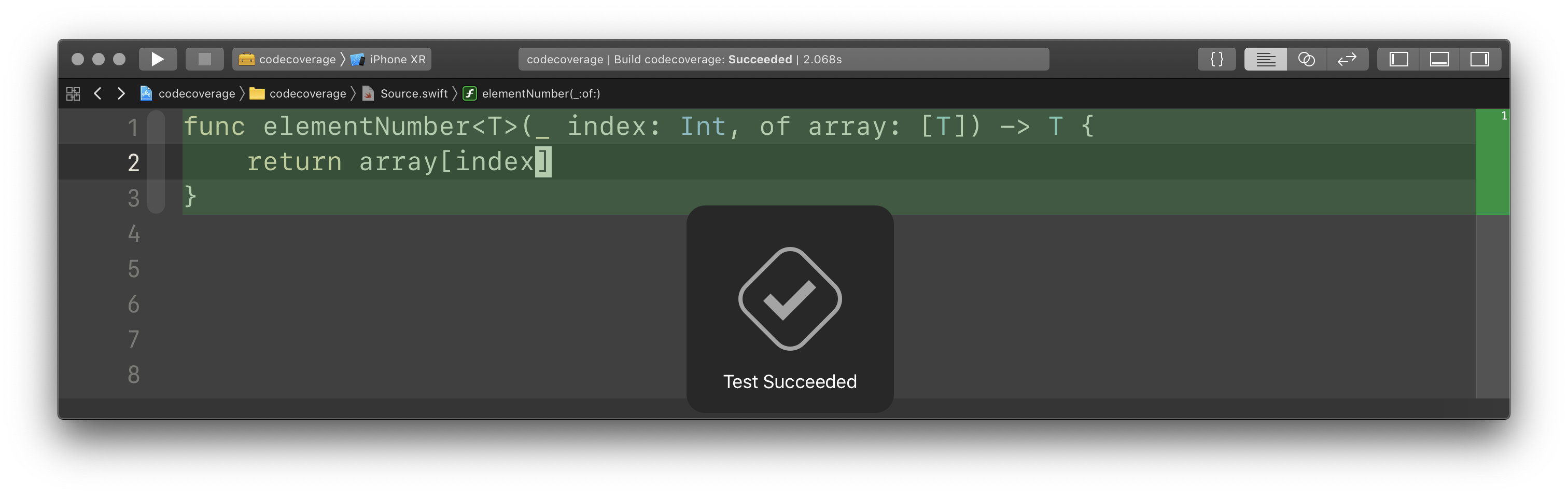 screenshot of Xcode showing 100% code coverage on a bugged function