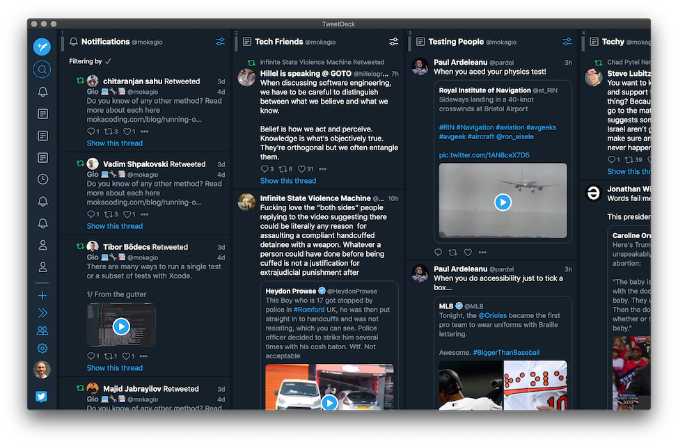 A screenshot of my TweetDeck interface