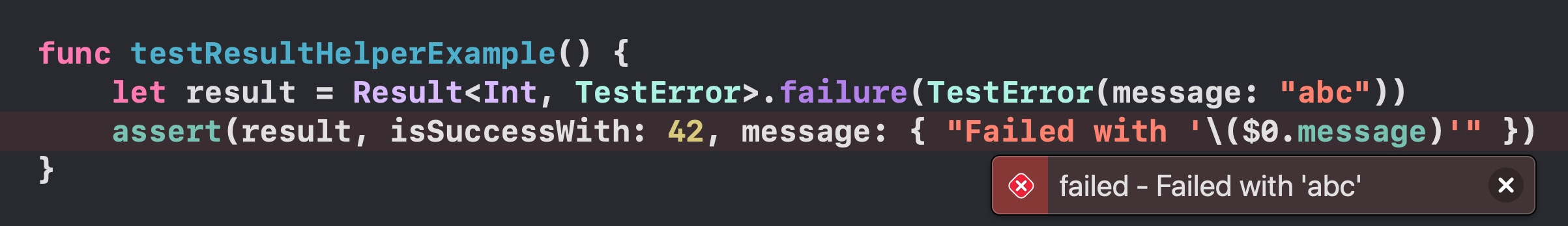 Screenshot of how Xcode 12 reports a failure inline using the helpers above and a custom error message