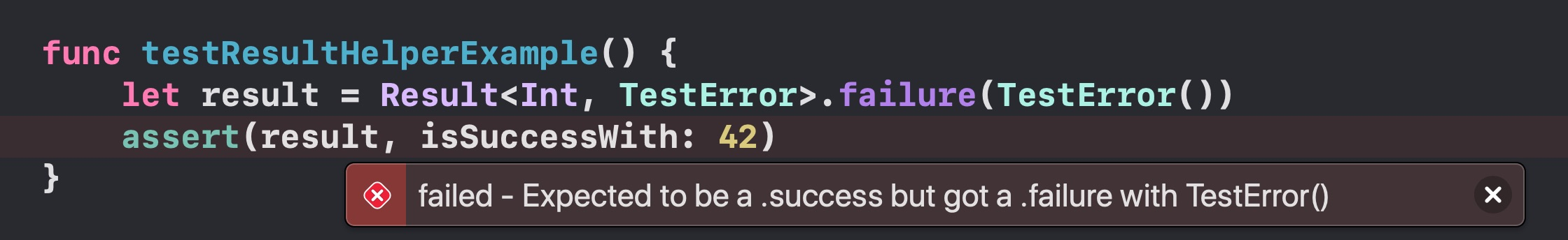 Screenshot of how Xcode 12 reports a failure inline using the helpers above