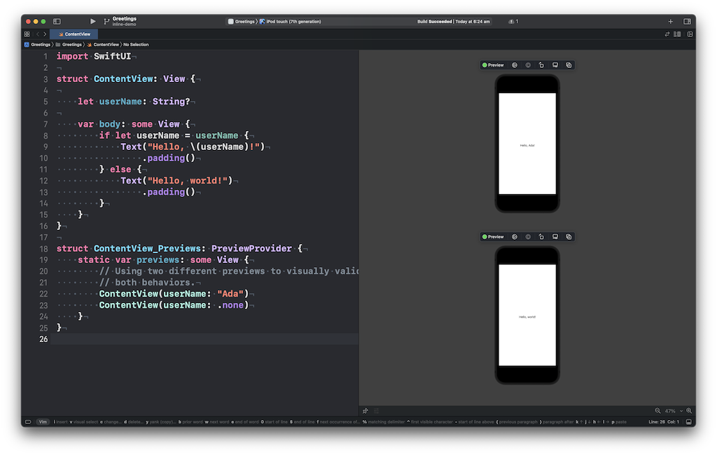 Screenshot of Xcode using two previews