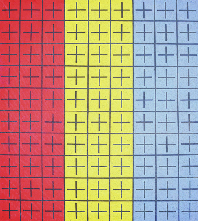 5 ding yi appearance of crosses i 1988 acrylic on canvas 200 %c3%97 180 cm hi res