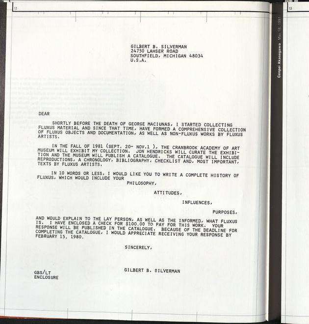 Fluxus etc. silverman letter