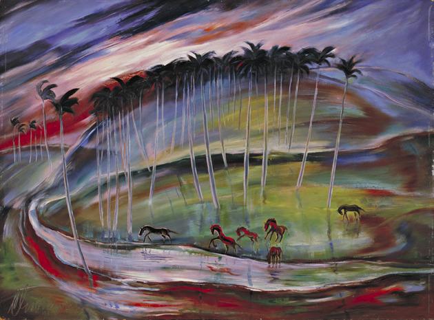 Carlos enriquez landscape with horses.jpeg