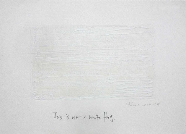 Chandraguptha thenuwara  2012  this is not a white flag  mixed media on paper  29.7cm x 21cm
