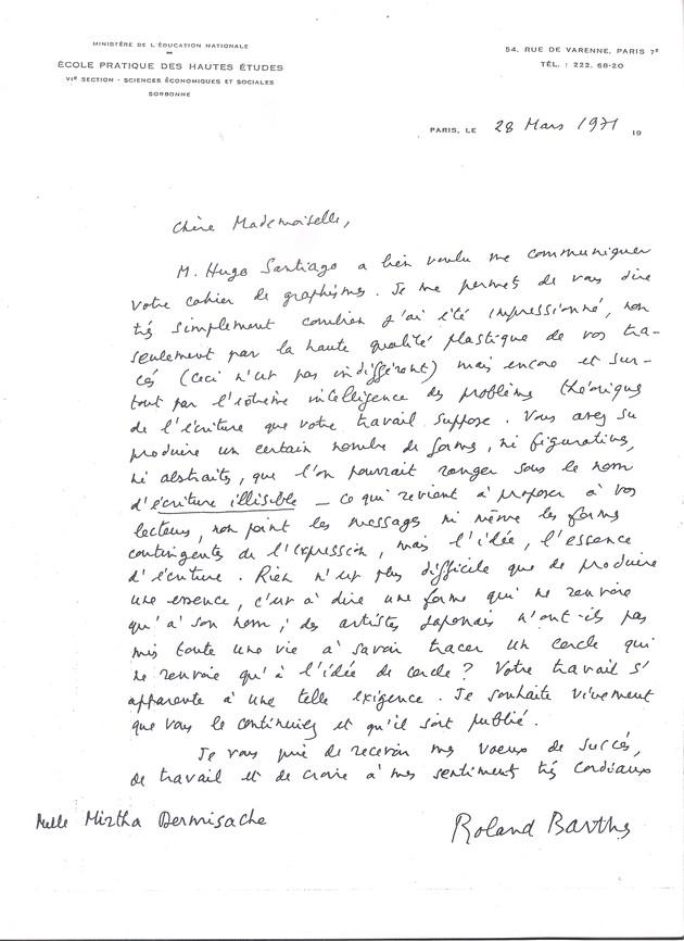 Carta de roland barthes  28 de marzo de 1971. cortesi%e2%95%a0%c3%bca archivo mirtha dermisache %28amd%29