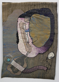 Portrait of medea 1 1980  colored sewing on textile 90x60 cm