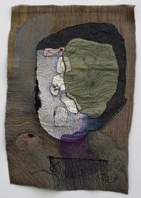 Portrait of medea 2 1980  colored sewing on textile 90x60 cm