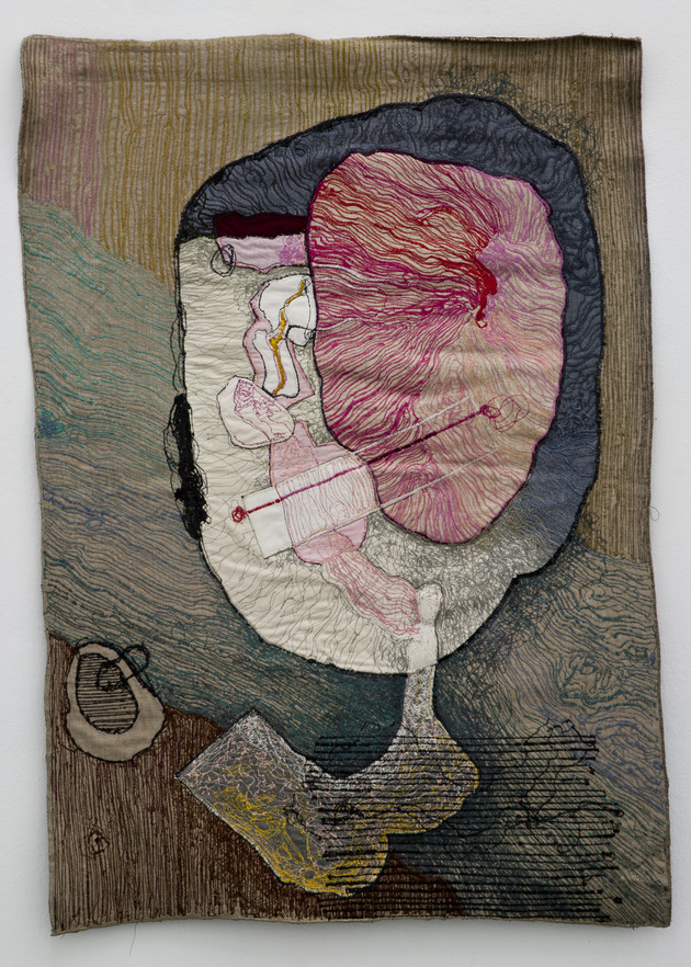 Portrait of medea 3 1980  colored sewing on textile 90x60 cm