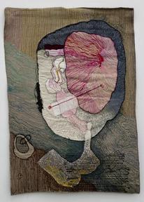 Portrait of medea 3 1980  colored sewing on textile 90x60 cm