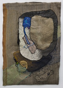Portrait of medea 4 1980 colored sewing on textile 90x60 cm