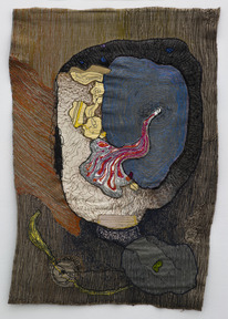 Portrait of medea 7 1980  colored sewing on textile 90x60 cm