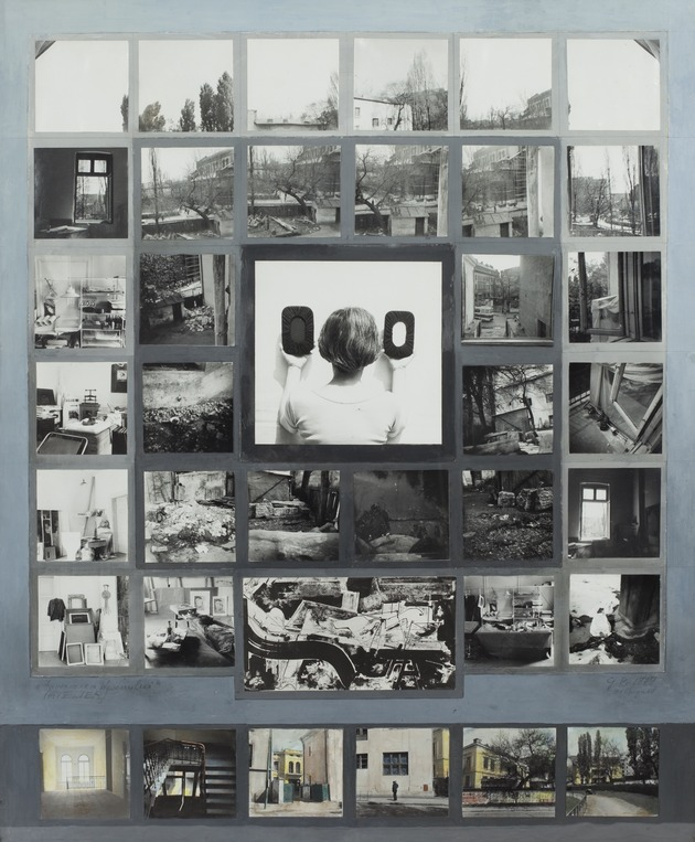 Atelierul   invocarea desenului1979 vintage photographs  tempera  guase  84 x 70 cm