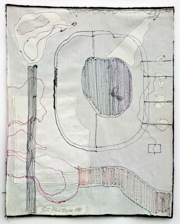 Medeic callisthetic moves 1  1980 81%e2%80%a8sewing on textiles 60 x 50 cm low