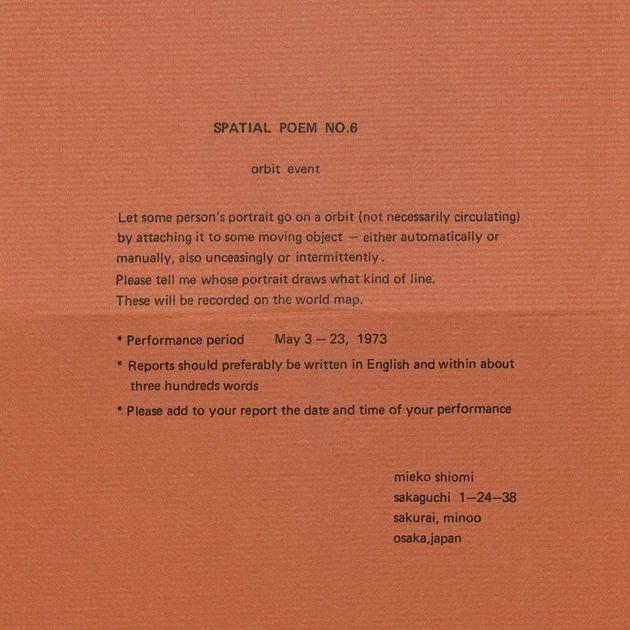 Spatial poem no. 6 instructions