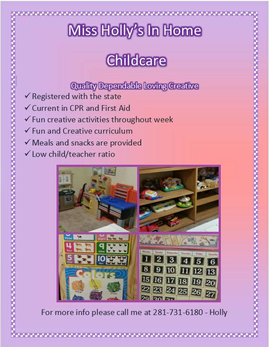 Holly S Home Daycare Inhome Stafford Tx