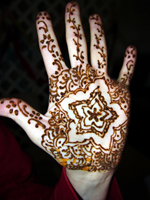 Henna is applied to the hands of the bride prior to many Hindu weddings