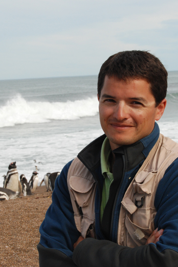 Borboroglu with Magellanic penguins in the background. Photo courtesy of GPS.
