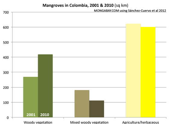 Chart: Mangrove Forest Cover Change in Colombia