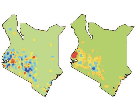 These maps represent how people and parasites moved in this study. The red areas represent areas with more movement out of them; blue represents areas with more movement to them; yellow represents areas with equal movement in and out. The map of Kenya on the left depicts human movement, with equal travel to and from several areas. On the right, mosquito parasite movement clearly flows out of the Lake Victoria region (large red patch) and into the Nairobi area (large blue patch). Image courtesy of Caroline Buckee, Harvard University.