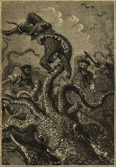 Illustration of a very fictional giant squid attack in 20,000 Leagues Under the Sea.