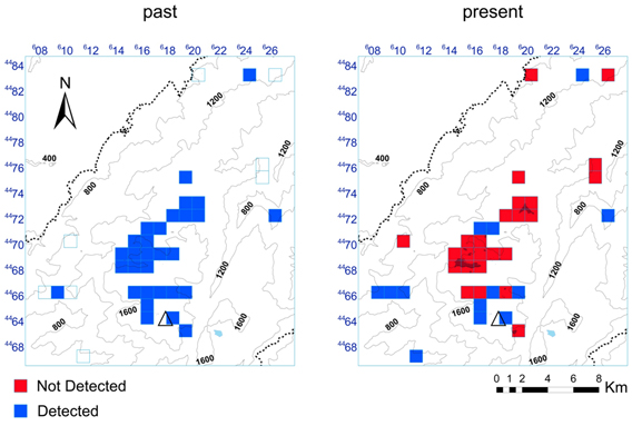 Presence/absence data of post-tadpole stage common midwife toad at Serra da Estrela Natural Park. Past map summarize data prior to 2009, and present map show the result of surveys carried out during 2010/2011. Axes show 1 x 1 km UTM coordinates. Map by: Gonçalo M. Rosa.