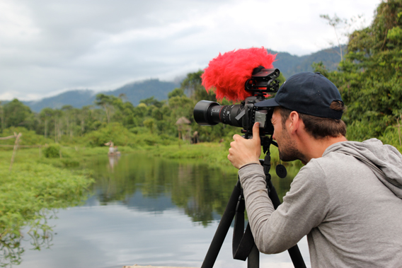 Dan Childs filming in the Peruvian Amazon. Photo courtesy of Nick Werber.