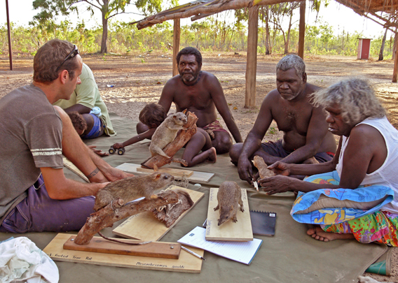 Aboriginal elders from north-east Arnhem Land discuss the plight of native mammals on their lands with scientist Mark Ziembicki. Photo by: Ian Morris.