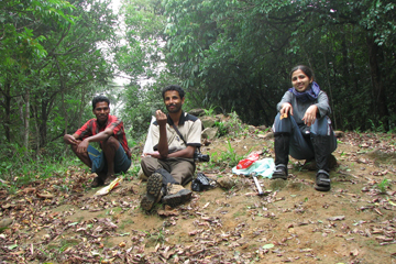 Research team in the forest. Joshi on far right. Photo by: K.A. Subramanian.