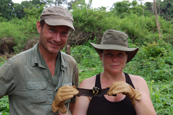 DeeAnn Reeder and Matt Rice with Niumbaha superba specimen. Photo by: DeeAnn Reeder.