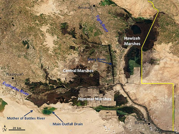 An overhead image of the Mesopotamian Marshes with annotated features in 2007. Photo by: NASA.