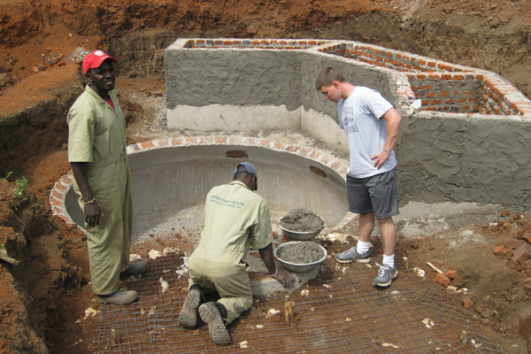 Biogas digester under construction for production of methane to cook school lunches. Photo courtesy of Elizabeth Ross.