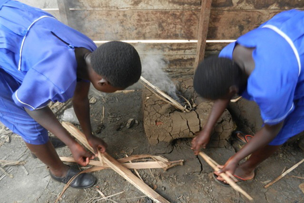 Students build and test fuel efficient stoves. Photo courtesy of Elizabeth Ross.