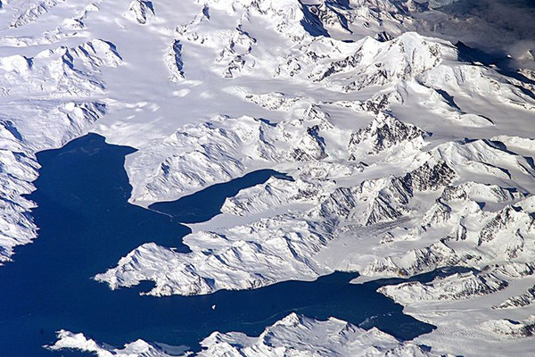 Aerial view of Cumberland Bay on South Georgia. Photo by: NASA.