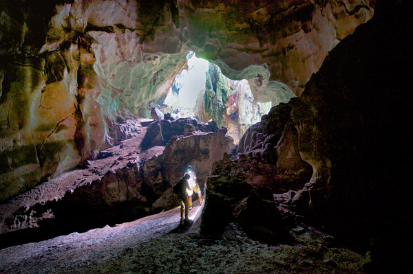 Cavers explore the biodiversity in Kanthan cave while they still can. Photo: Bjorn Olesen.