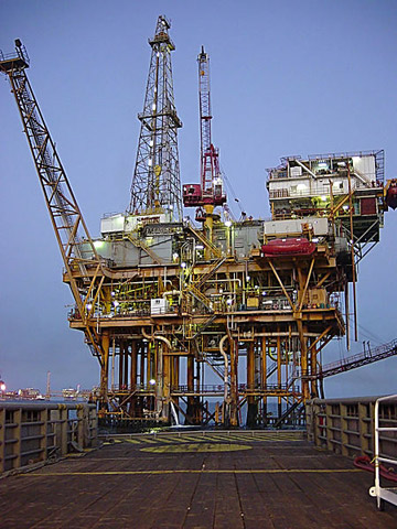 Offshore oil platform in the Gulf of Mexico. Photo by: Chad Teer